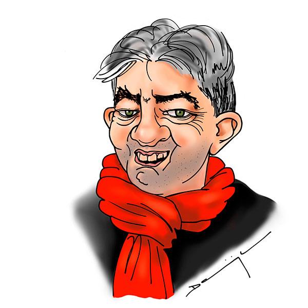 caricature de Jean_Luc Mélenchon réalisée par la Caricaturiste