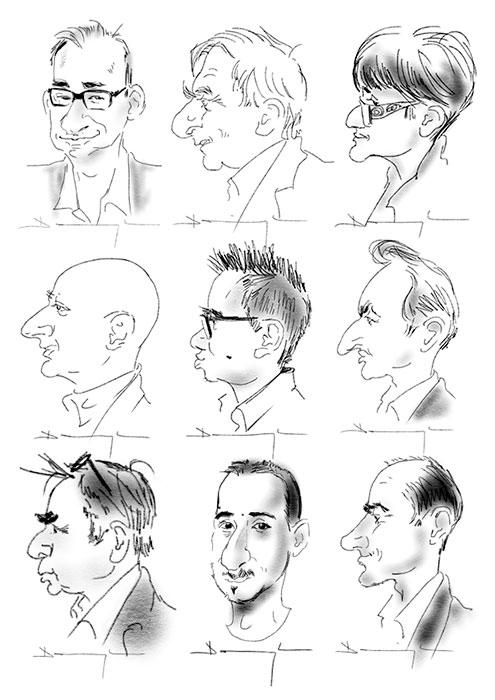 caricatures sur iPad réalisées par la Caricaturiste